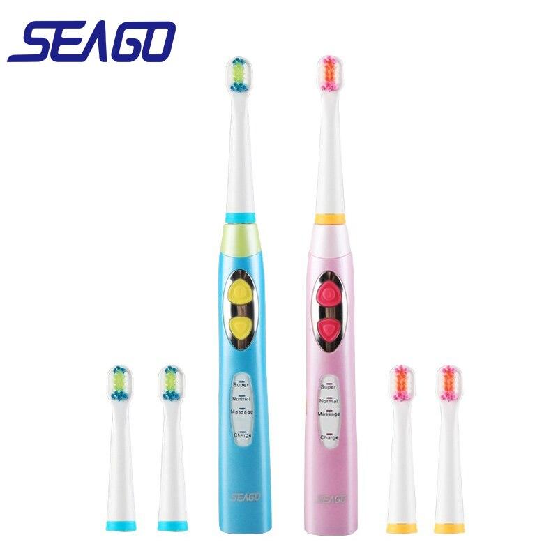 Cepillo de dientes eléctrico para niños marca SEAGO, cepillo de dientes recargable por USB, cepillo de dientes sónico de 3 modos con 3 cabezales de cuidado Dental
