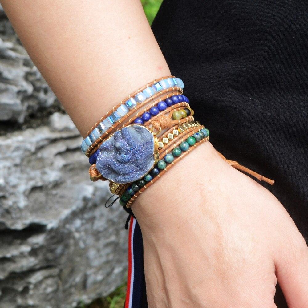 Pulseras bohemias hechas a mano de cristal de galaxia azul, pulsera de envoltura de piedra Natural Bohemia, 5 hebras, pulseras de cuero para mujer, envío directo