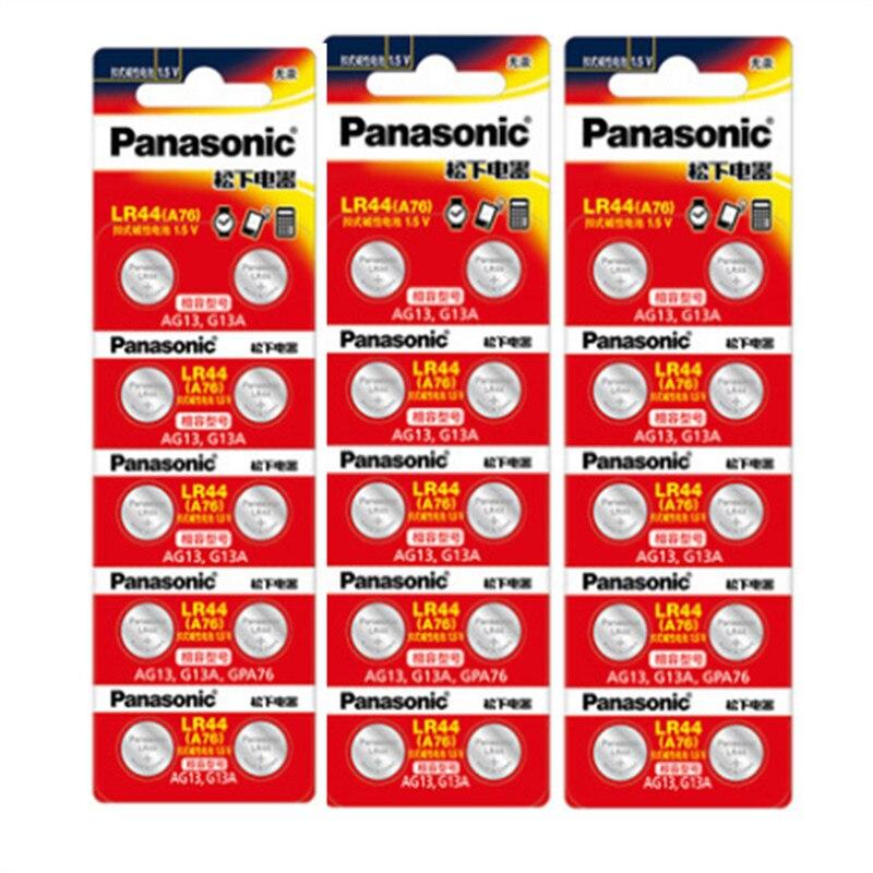 Аккумуляторы PANASONIC LR44 A76 AG13 0% Hg SR1154 357 LR 44 1,5 в, 30 шт., аккумуляторы для калькулятора 0% Hg