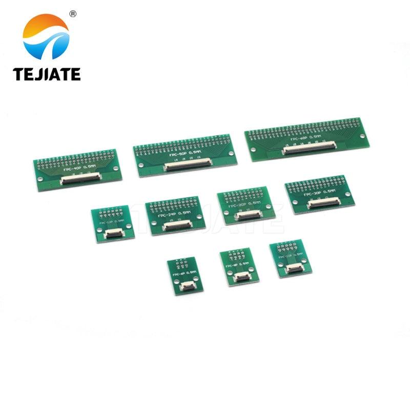 FPC FFC plat câble plaque de transfert directement inséré bricolage 0.5 MM espacement connecteur 6P 8P 10P 20P 30P 40P 60P 0.5 changements 2.54