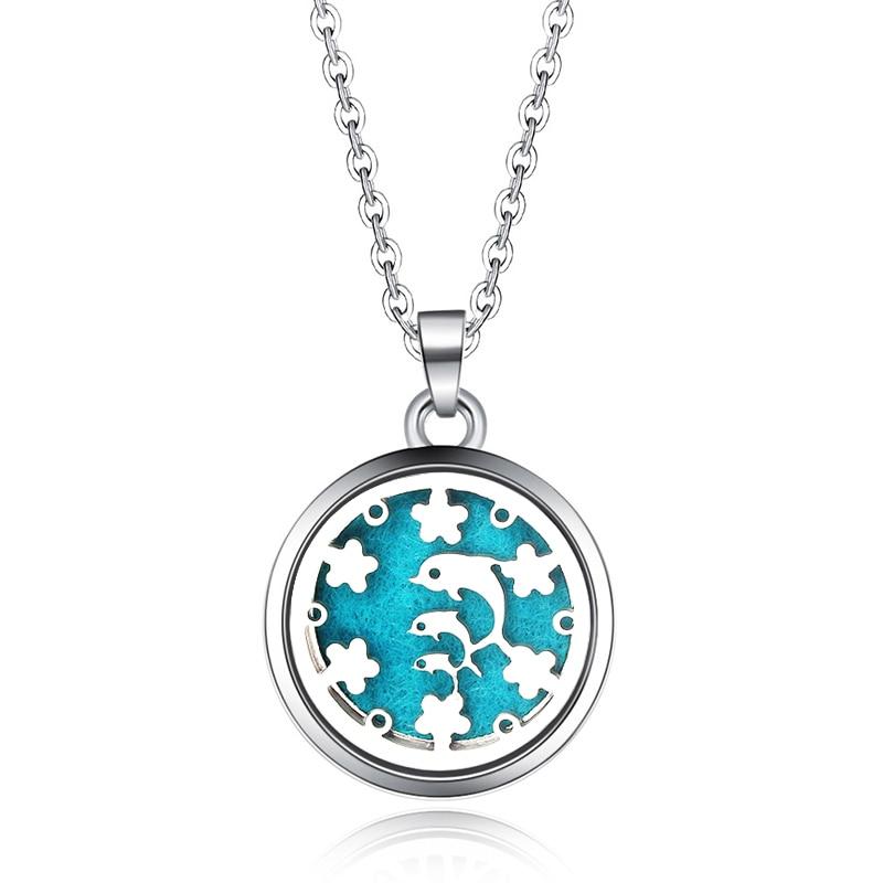 Delfín de acero inoxidable Aroma medallón colgante collar magnético Perfume Aceite Esencial difusor caja colgante joyería encantadora