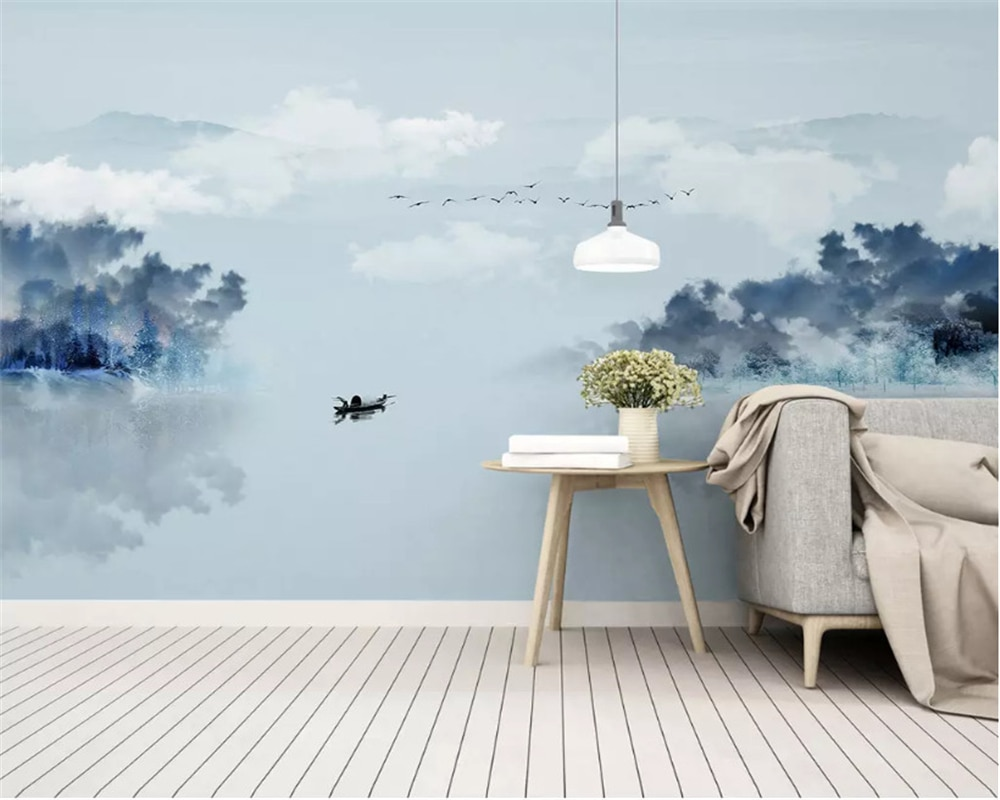 beibehang New Chinese abstract classic 3d wallpaper artistic landscape landscape bedroom living room decoration mural wall paper
