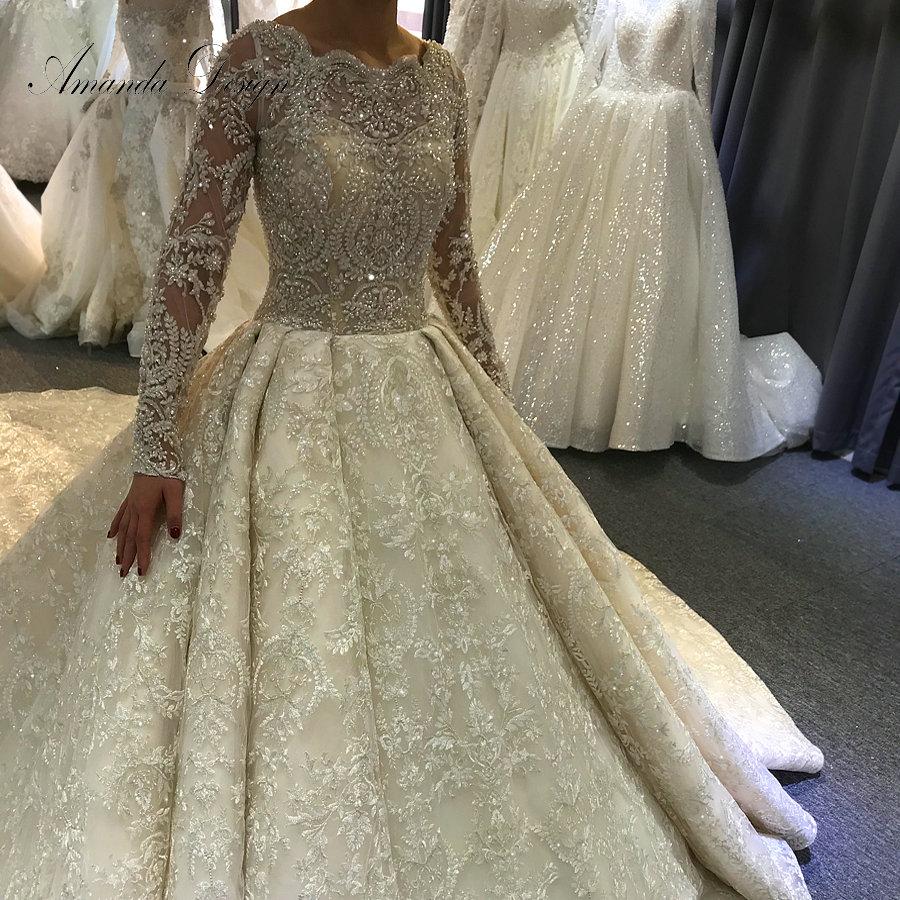 Vestido de novia de manga larga de cristal personalizado de gran oferta de lujo