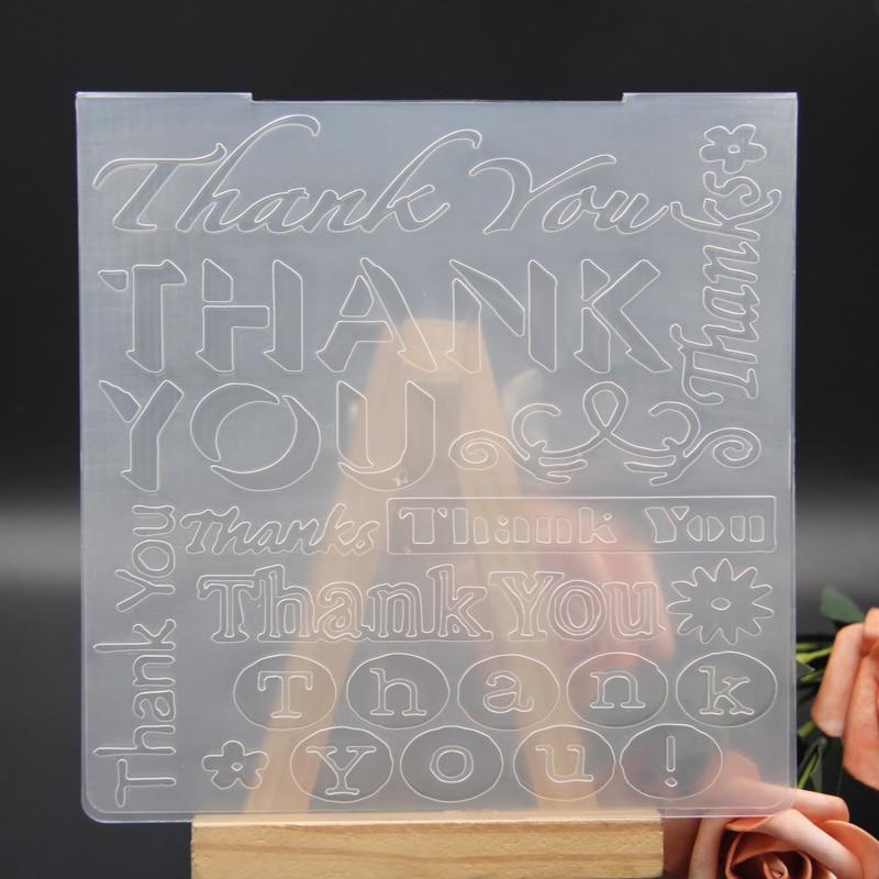 KLJUYP gracias carpetas de plástico en relieve para DIY Scrapbooking papel artesanal/tarjetas que hacen suministros de decoración