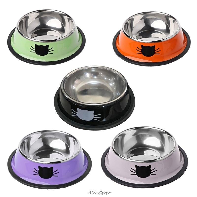 Bol à aliments pour chiens chats et chiots   Épais et antidérapant ustensiles alimentaires, bols pour animaux domestiques en acier inoxydable simples pour chats et chiots