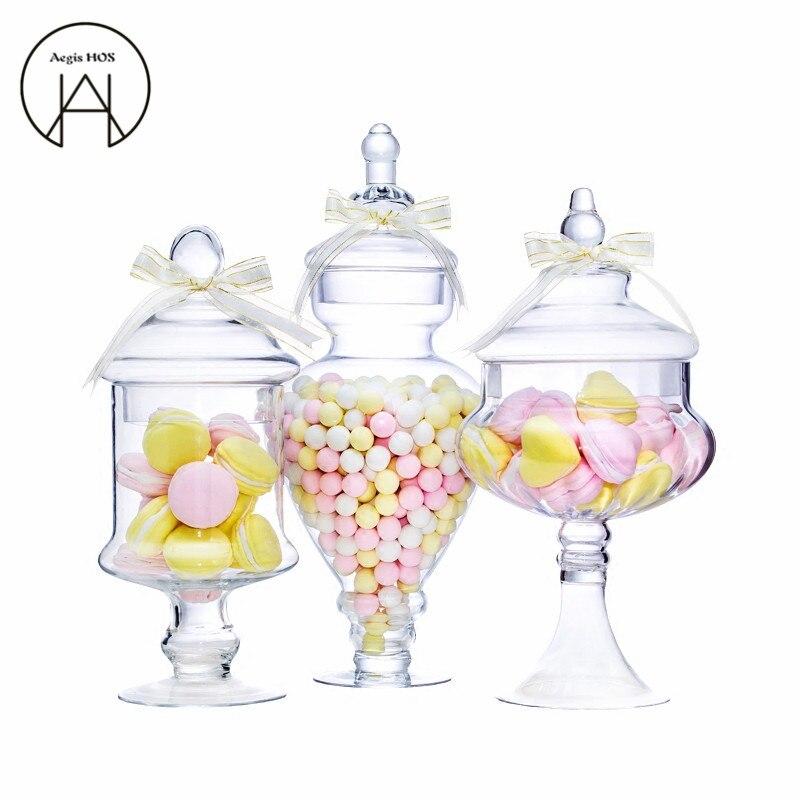 كبيرة الفجل الأوروبية شفافة الحلوى جرة الزجاج خزان مع غطاء تخزين زجاجة الزفاف الديكور مجموعة الحلوى وعاء الإبداعية زهرية