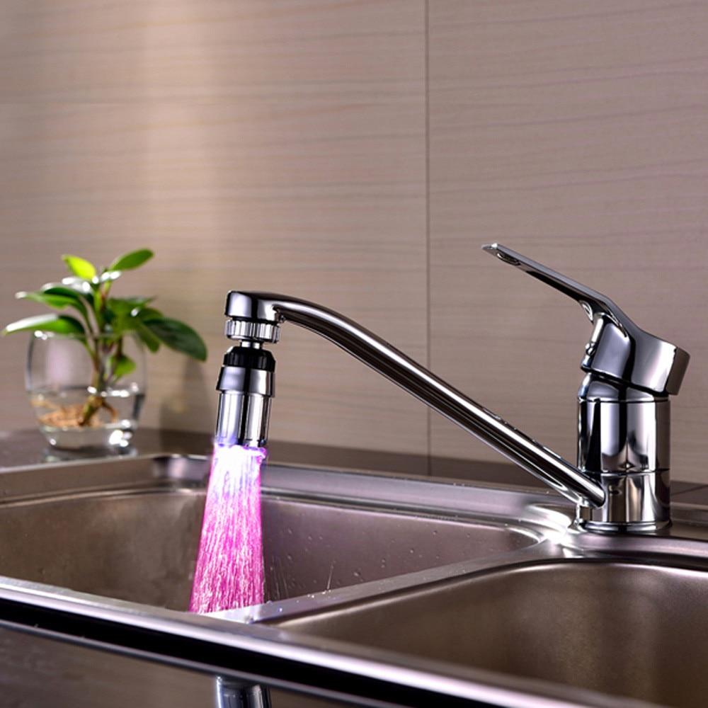 Fregadero de cocina 7 cambio de Color agua brillo agua ducha LED grifo luz levert dropship