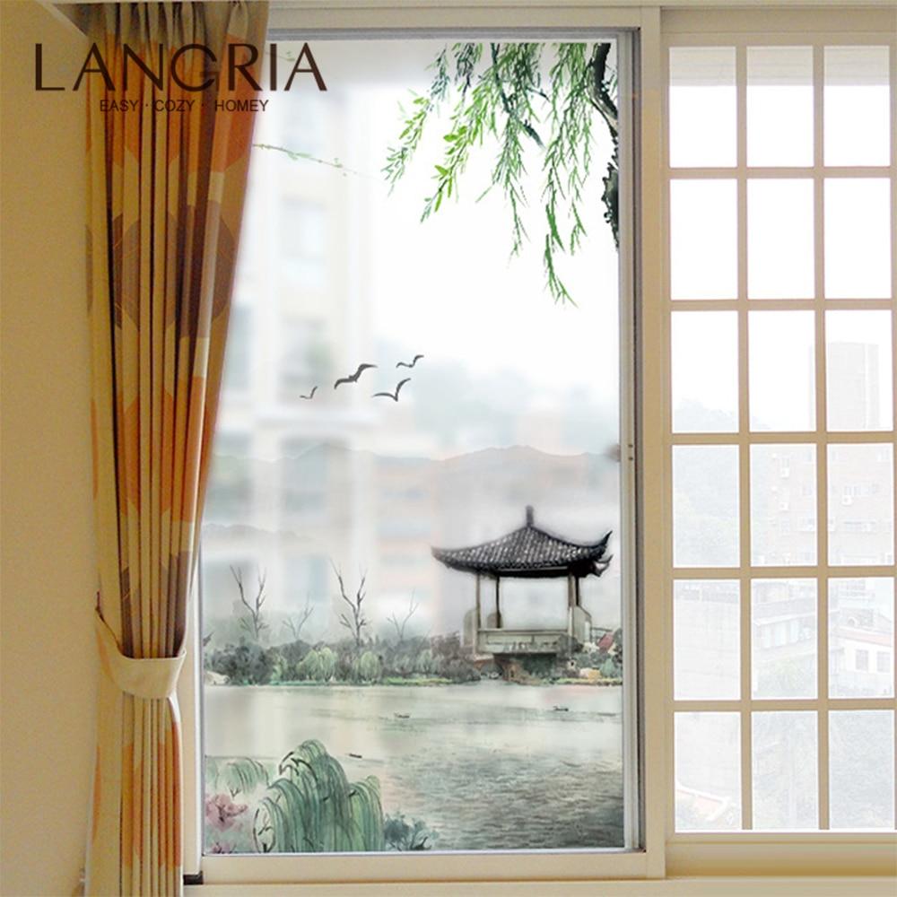 Paisaje extraíble ventana de cristal de PVC película pegatina de pared mate películas decorativas opacas esmeriladas pegatinas de vidrio de ventana decoración del hogar