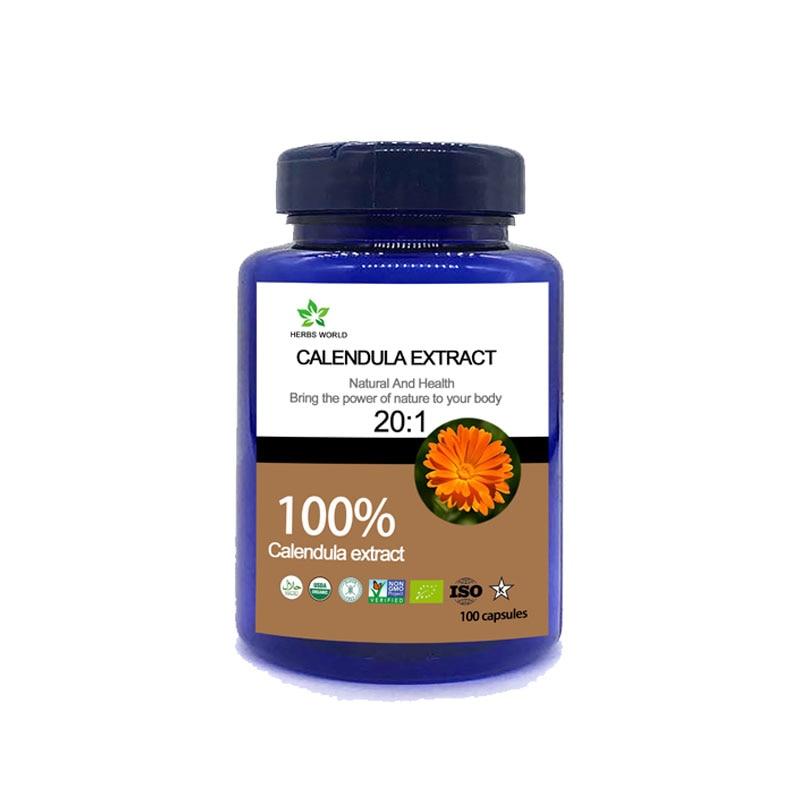Cápsulas de extracto de caléndula Natural, polvo de extracto de caléndula 100% 201