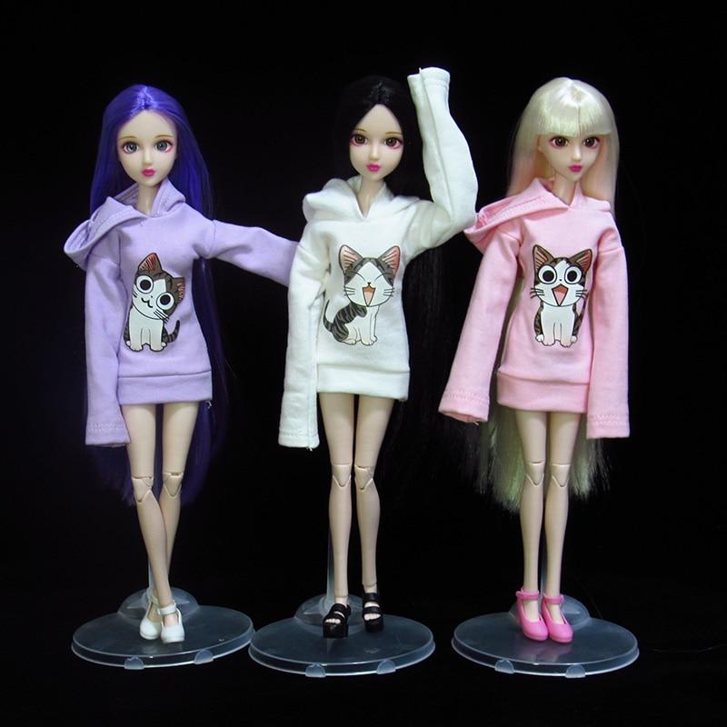 T02-X503 Blyth st Doll clothes 1/3 1/4 bjd 1/6 dolls Accessories cartoon pink white purple cat Hooded sweater 1pcs
