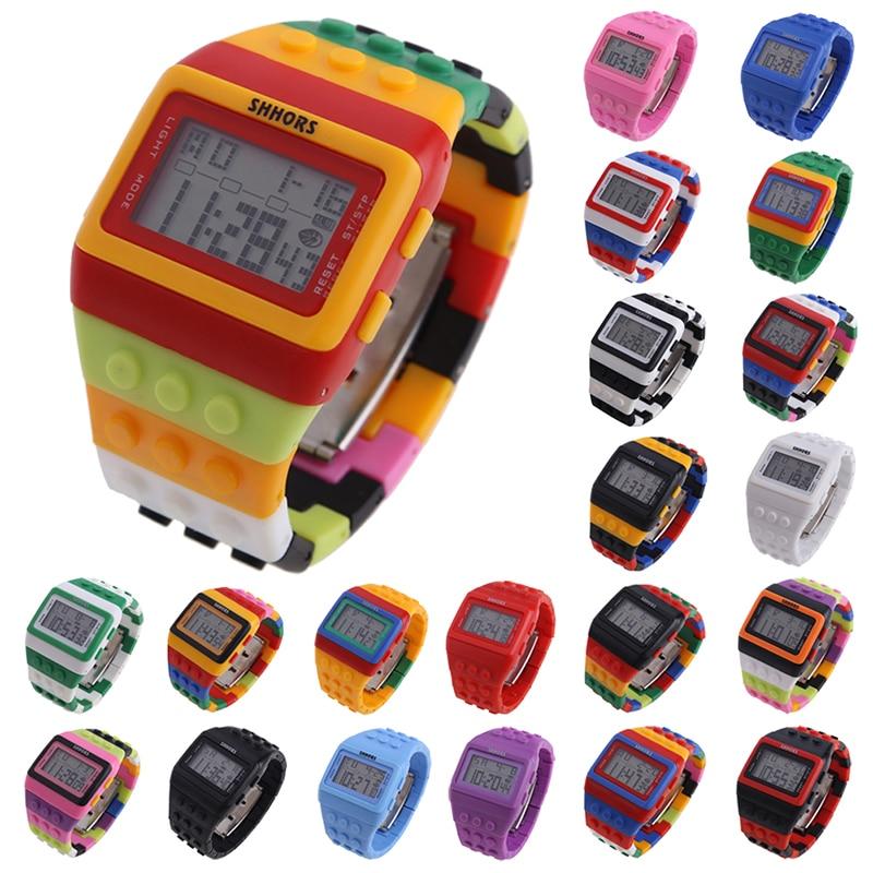 Популярные детские часы, цифровые светодиодные шикарные разноцветные Конструкторы унисекс, спортивные детские часы, наручные часы для мал...