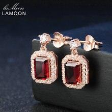 Lamoon Classic 1.1ct 100% Natural Red Garnet 925 Sterling Silver Drop Earrings  S925 Fine Jewelry LMEI025