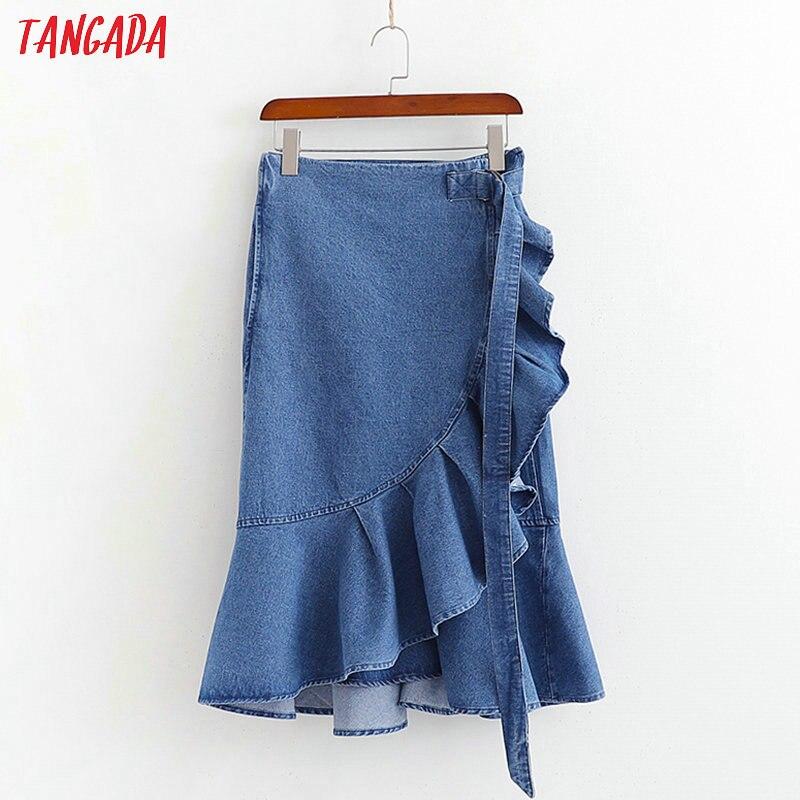 Tangada moda 2019 mujeres vintage denim Falda fajas volantes retro plisado azul faldas mujer 1D422