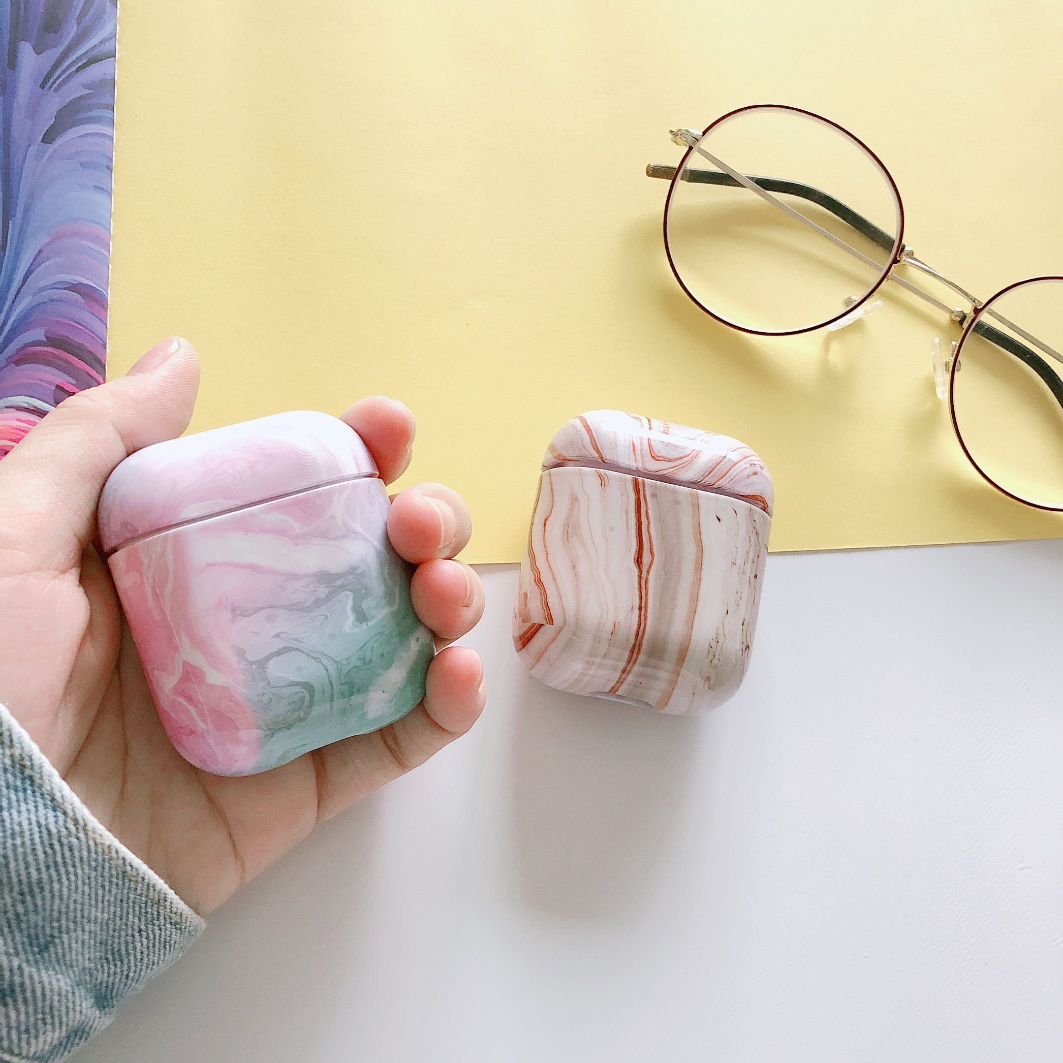 10 unids/set funda para Airpod 1 o Airpods 2 funda protectora de mármol de lujo 11 auricular Bluetooth caja de carga piel protectora