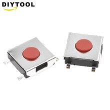 Commutateur bouton poussoir Tactile   Momanisé Tact, 6*6*100, 4 broches, cuivre étanche, tête rouge 6x6x2.5, interrupteur de moniteur LCD 6x2.5 pièces/lot