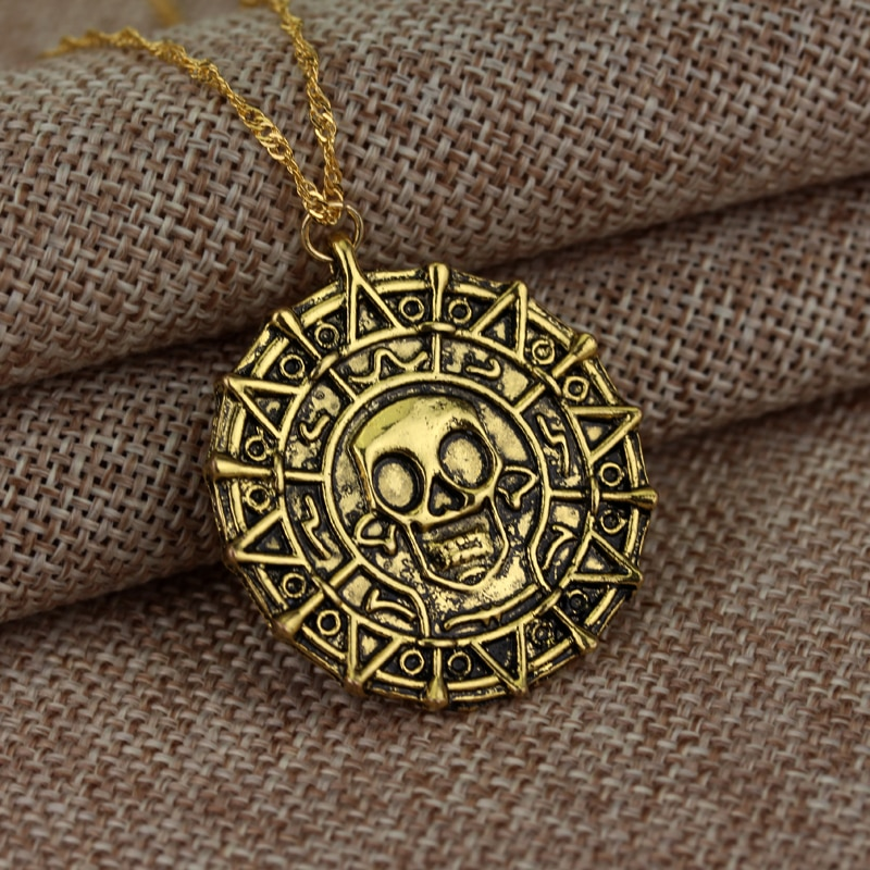 Горячая Пираты Карибского моря ожерелье Джек Воробей ацтекская монета медальон винтажная Золотая бронзовая серебряная подвеска оптовая продажа