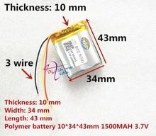 3 ligne litre énergie batterie 3.7 V lithium polymère batterie 103443 1500 MAH machine de jeu MP3 MP4 MP5 lithium batterie GPS navigateur
