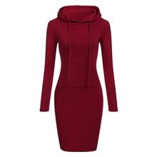 Automne hiver chaud sweat à manches longues robe 2018 femme vêtements à capuche col poche Design Simple femme robe