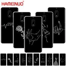 HAMEINUO Art White Line Kiss Love Heart Flower Rose Girl cover phone case for Nokia 9 8 7 6 5 3 Lumia 630 640 640XL 2018