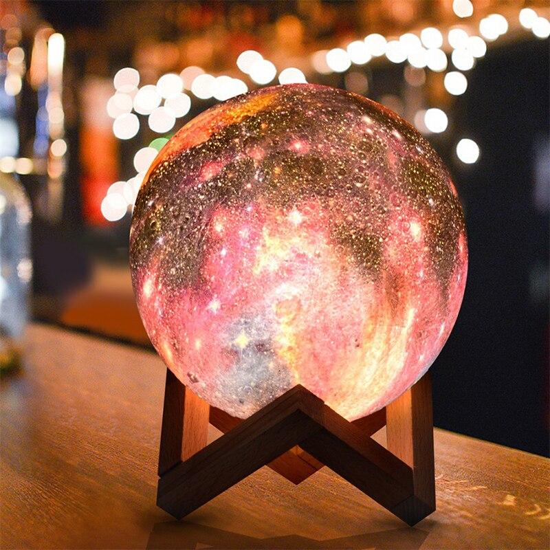 3D الطباعة القمر مصباح سماء نجمية القمر ضوء الاطفال ليلة ضوء 3 اللون تغيير غالاكسي ضوء الهدايا المنزل الديكور الداخلي