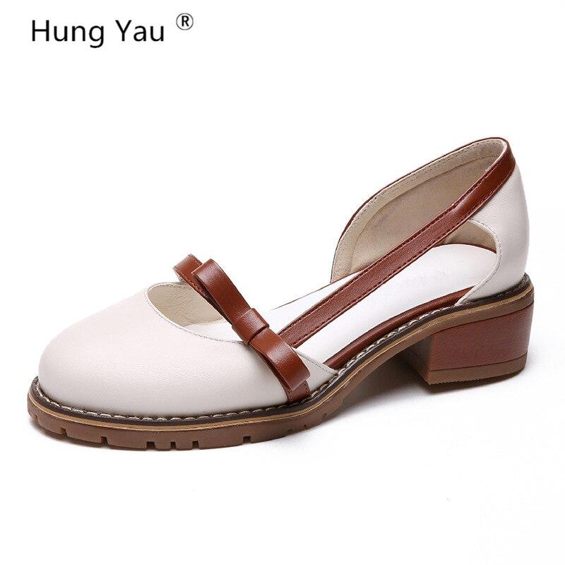 Hung Yau Women Sandals Summer Platform Sandals Comfortable High Hoof Thick High Heel Student Leather Beige Shoes Size 8