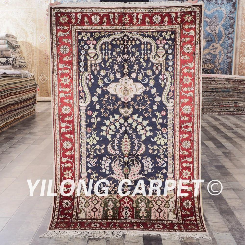YILONG 3'x5' persian handmade carpet hand knotted silk blue exquisite antique floor rug (YHW322B3x5)