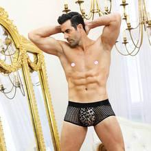 Mens Leopard Panties Sexy Boxer Shorts Black Transparent See-through Mesh Erotic Low Rise Male Underwear Lingerie