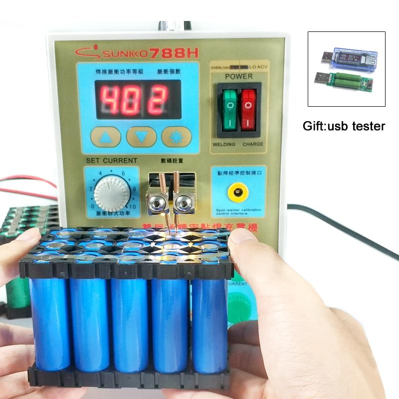SUNKKO 788H spot welding Pulse Battery Spot Welders LED lighting 18650 Lithium battery charging + Battery tester 110V 220V weld