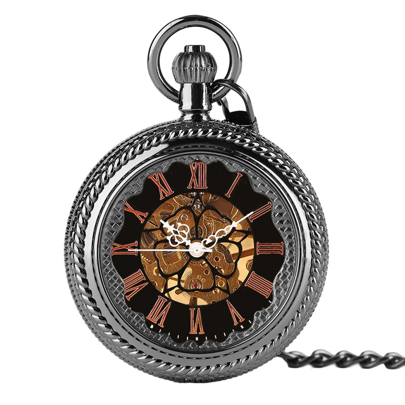 Fashion Big Hand Winding Mechanical Pocket Watches Men Women Pendant Classic Steampunk Watch Black Windup Skeleton Clock Hour