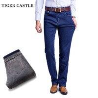 TIGER CASTLE Thick Men Winter Stretch Jeans Warm Fleece Male Classic Jeans Quality Male Black Denim Jean Pants Size 28-42