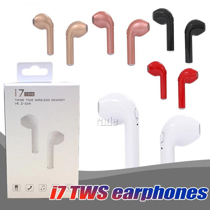 10PCS/Lot Original i7 TWS Twins True Wireless Earbuds Earphone Mini Bluetooth V4.2 DER Stereo For iPhone Samsung i7-tws free DHL