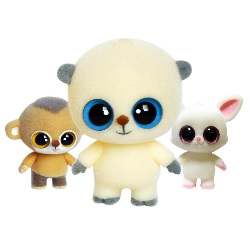 Grandes ojos lindos muñecos mono flocado muñeca juguetes Kawaii Mini Decoración Juguetes Para niñas poco exquisito muñecas mejores regalos de navidad