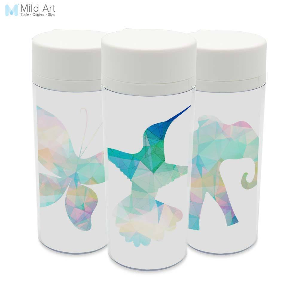 Botella de agua minimalista con tapa de boca ancha de 300ml para niños, botella de agua con aislamiento de plástico libre de BPA personalizada para aves de Animales abstractos