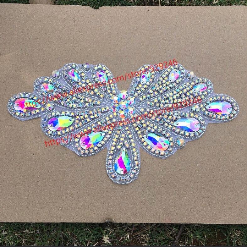 1 pieza/lote gran flor cristal escote precioso AB aplique diamante imitación cristal para vestido prendas collar ropa con adornos accesorio