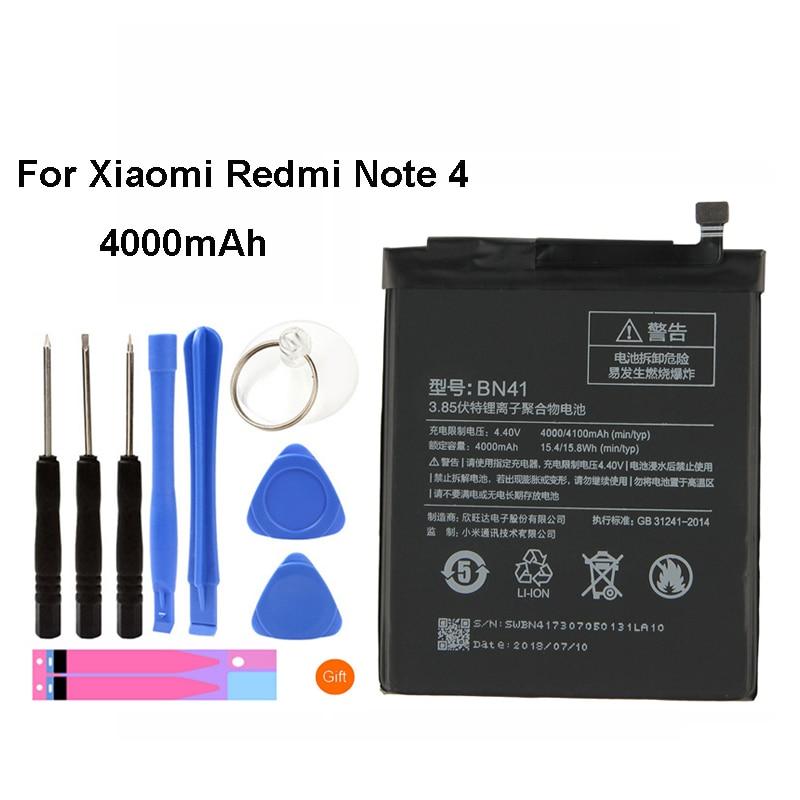 5 pièces/lot 10 pièces dorigine BN41 batterie pour Xiaomi Redmi Note 4 capacité réelle 4000mAh remplacement Li-ion batterie + outil