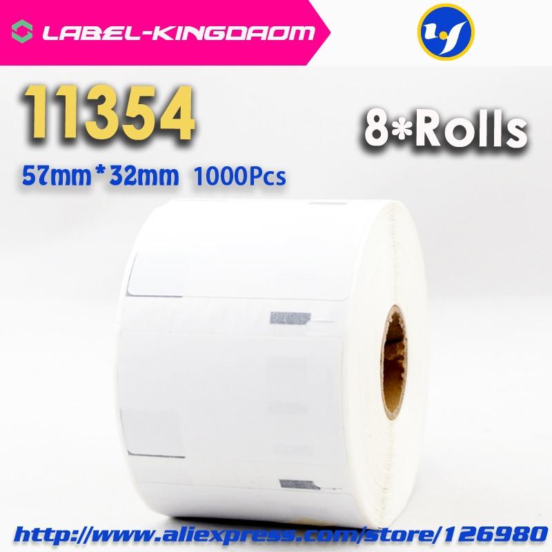 8 rollos Compatible con DYMO 11354 etiqueta 57mm * 32mm 1000 Uds Compatible para LabelWriter 400 450Turbo 450 impresora Seiko SLP 440, 450