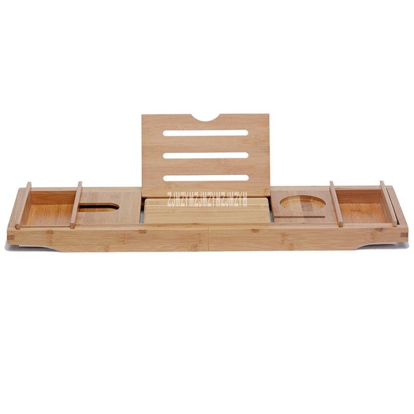Retractable Bathtub Rack Support Organizer Shelf Bridge Wine Glass Book Holder Bamboo Bath Rack Antiskid Tub Caddy Tray