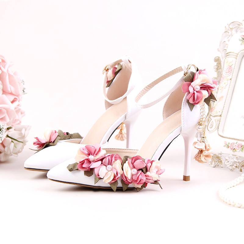 Zapatos para adultos, sandalias de boda rosa de seda de satén, zapatos de novia con punta estrecha, Ultra tacones altos, zapatos de vestir formales con perlas y encaje de flores