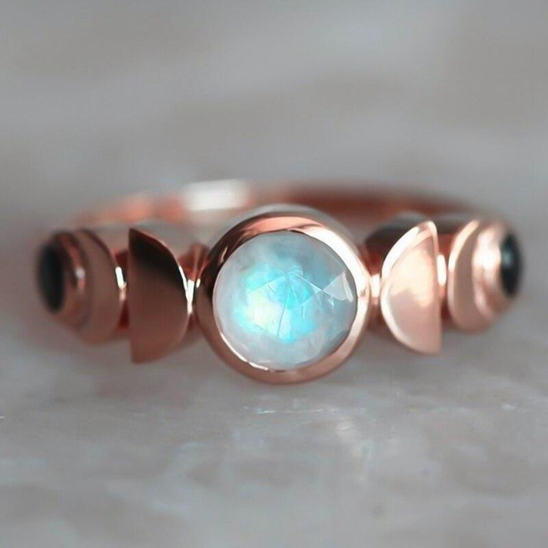 Кольцо с месячной фазой, женское кольцо с имитацией лунный камень, Кристальное ретро кольцо серебряного цвета, небесные украшения