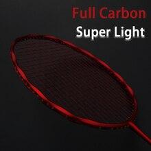 Raquette de Badminton professionnelle en Fiber de carbone Super légère cordée Max 30LBS 4U raquettes avec sac à cordes raquette sport Padel
