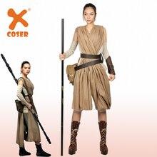 X-COSTUME Star Wars x Rey Cosplay disfraz mujer poliéster regalo de Halloween