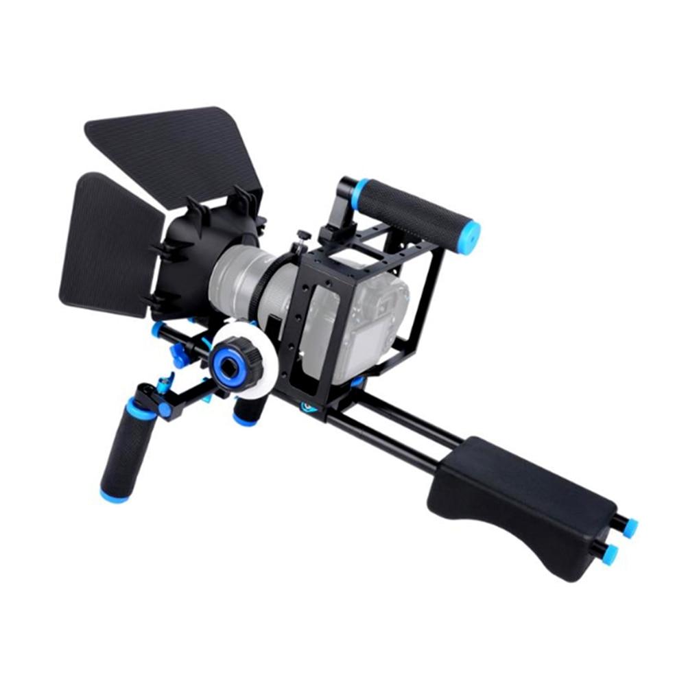DSLR Rig-مجموعة قفص الكاميرا ، نظام مثبت الكتف ، منصة دعم الفيديو لكانون 5D Mark III IV 6D 7D Nikon D7200 Sony A7 GH5 GH4