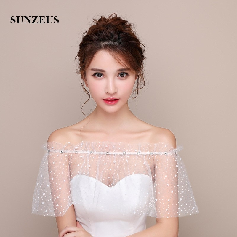 Spring Summer Autumn Women's Dress Cape Little Start Tulle Special Bridal Wraps Back Straps blouson femme SW17