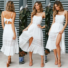 S-XL women sleeveless backless strap dress night evening party lace dress sexy casual leisure style midi dress