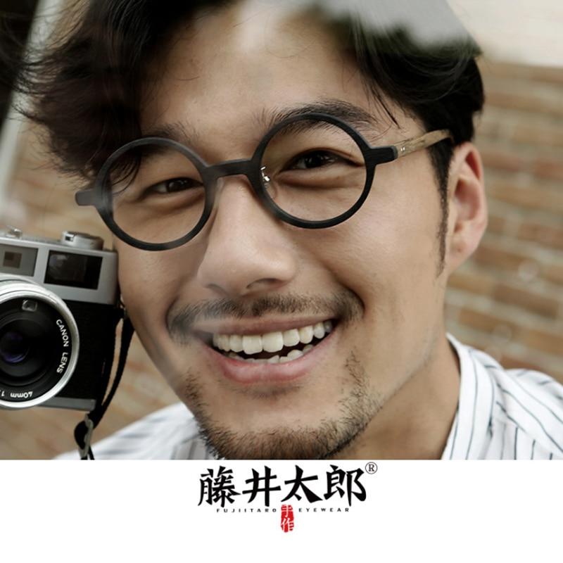 TARO FUJII-إطار نظارة بصرية عتيق ، للرجال والنساء ، ريترو ، دائري ، للكمبيوتر ، عدسات شفافة ، Oculos