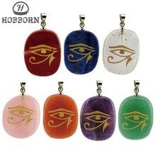HOBBORN Rah egypte oeil dhorus Energy collier femmes hommes fait à la main pierre naturelle guérison méditation unisexe pendentifs et colliers
