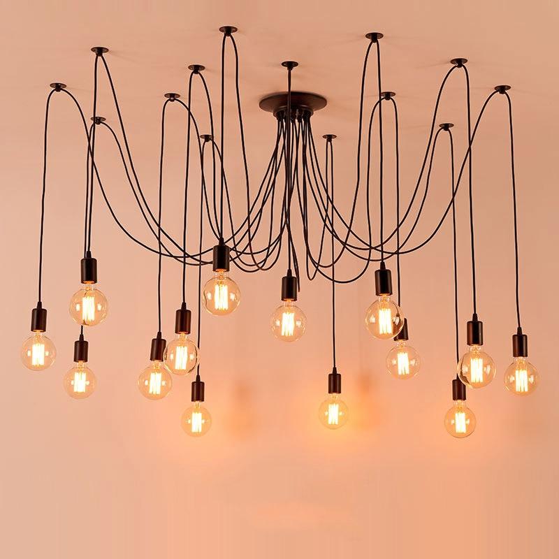 Colgante luces Lustres araña lámpara colgante luminaria múltiple ajustable Retro Hanglamp Abajur...