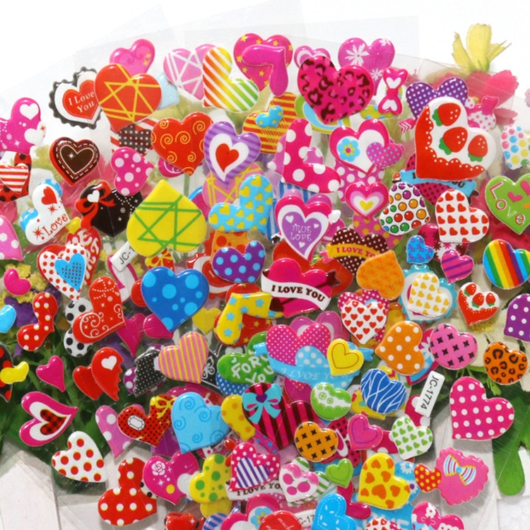 10Sheets/Lot Cartoon Love Heart 3D Bubble Sticker Scrapbook PVC DIY for Kids Children Education Gift Reward Stickers