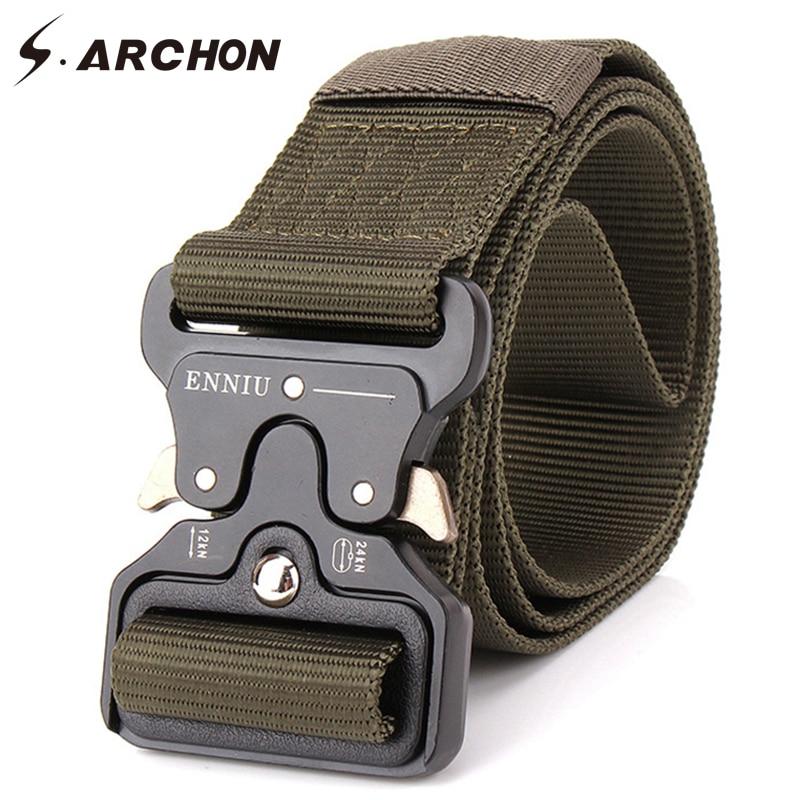 S.ARCHON Military Equipment Tactical Belt Men Nylon Knock Off Metal Buckle Army Belt Strap Heavy Duty Soldier Combat Waist Belts