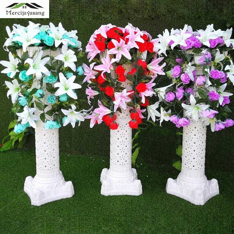 Flower Vases Floor Plastic Vase Hollow Dried Flowers Roman Column Flower Pot Road Lead for Home/Wedding Corridor Decoration G147